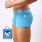 【熊老大】-4_仿皮帶假口袋設計舒適貼身棉質四角褲_藍色【KLK002】