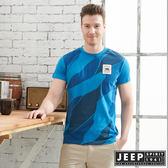 【JEEP】型男花漾迷彩短袖TEE-海洋藍