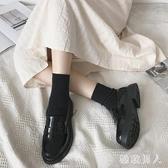 小皮鞋2020新款夏季女日系制服鞋軟妹百搭一腳蹬淺口單鞋黑色小皮鞋 HR356【極致男人】