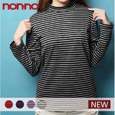【non-no儂儂褲】(2入)半高領條紋休閒服-21325