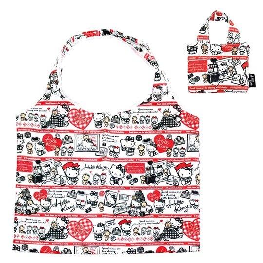 〔小禮堂〕Hello Kitty 折疊尼龍環保購物袋《黑紅.開車小熊》手提袋.環保袋 4580433-07921