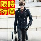 大衣毛呢隨性細緻-貴氣魅力雙排扣短版男外套2色61x37【巴黎精品】