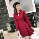 紅色洋裝拜年小紅裙收腰顯瘦紅色裙子2020新款秋冬法式復古裙冬季連身裙 衣間迷你屋