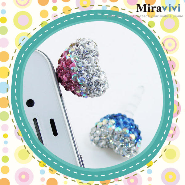Miravivi 繽紛水鑽系列耳機防塵塞-水鑽愛心