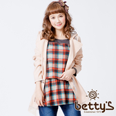 betty's貝蒂思 花朵抽繩衣襬蕾絲連帽外套(粉膚橘)
