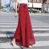 2021新款高腰闊腿褲女雪紡冰絲開叉顯瘦寬鬆垂感復古休閒春夏 快速出貨