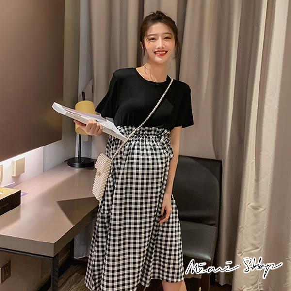 孕婦裝 MIMI別走【P52871】推薦實穿 假兩件拼接格子連身裙 孕婦洋裝 長裙