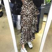 層層波浪邊鬆緊腰蛋糕裙 狂野豹紋高腰長裙 艾爾莎【TGK7004】