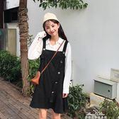 裙子秋女2019新款韓版chic仿麂皮絨背帶裙寬鬆荷葉邊中長款洋裝『夢娜麗莎精品館』