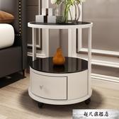 時尚圓形床頭櫃 簡約現代歐式邊幾創意桌角幾儲物櫃茶幾收納桌-免運直出
