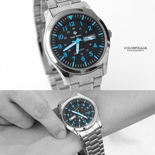 搭載SEIKO機芯銀帶黑面藍手錶NE2040