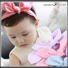 韓風條紋點點立體兔耳朵頭飾 兒童髮帶 髮箍