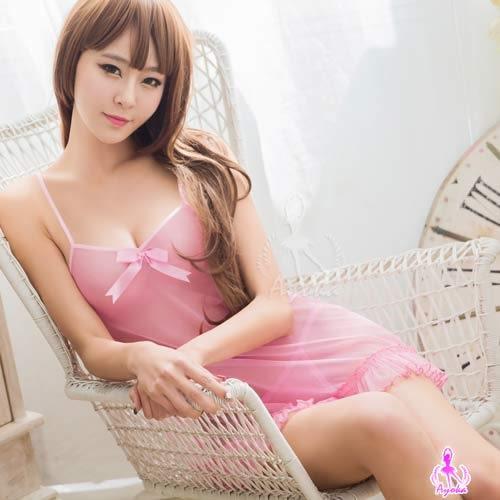 粉色心機網紗透視二件式睡衣 (OS小舖)
