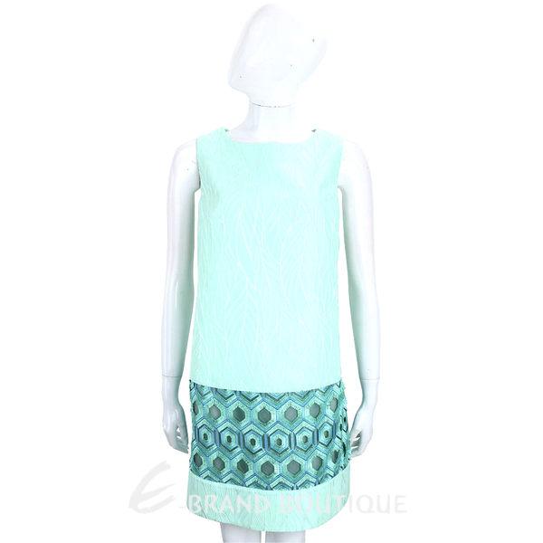 Maria Grazia Severi 薄荷綠浮雕拼接幾何圖形無袖洋裝 1720107-A1