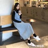牛仔裙女2019新款學生長裙寬鬆大碼藍色背帶裙原宿連身裙春季『艾麗花園』