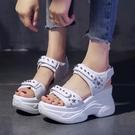 增高涼鞋 夏季涼鞋女新款百搭內增高超火鬆糕厚底仙女老爹鞋-Ballet朵朵