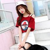 出清$188 韓系蕾絲肩帶漏肩時尚印花美套頭T恤短袖上衣