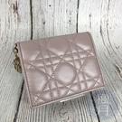 BRAND楓月 Christian Dior 迪奧 M15P LADY DIOR 珠光粉色 羊皮 短夾 錢夾 錢包