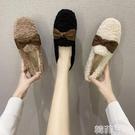 毛毛鞋 毛毛鞋女外穿新款秋冬爆款羊羔毛豆豆鞋蝴蝶結孕婦加絨棉瓢鞋 韓菲兒