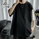 男短T恤 韓版雙色拼接寬版五分短袖上衣【NLHYXS-T34】