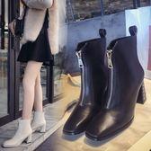 鞋子女秋季新款女鞋女短靴前拉鏈粗跟女靴高跟靴馬丁靴女單靴 范思蓮恩