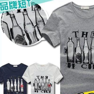 T恤ManStyle潮流嚴選圓領酒瓶玻璃瓶可樂瓶LOGO短袖T恤男【R9B0283】