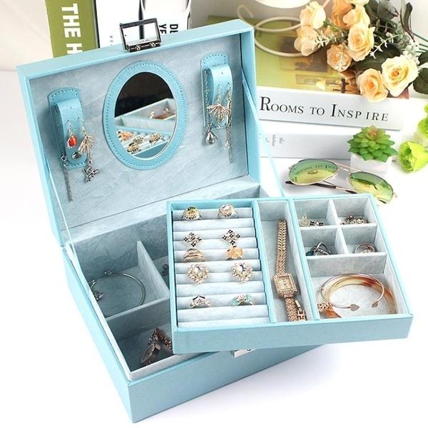 珠寶盒 雙層首飾盒公主歐式韓國收納盒手飾品木質帶鎖耳環收納盒結婚禮物 尾牙