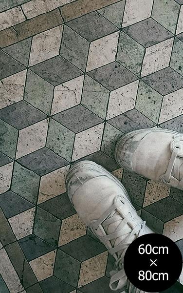 地墊 玄關墊 廚房墊 幾何形 磚紋 Beija Flor beija flor Tile Flooring BapM AN Wabi Sabi (60×80)