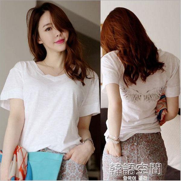 2019新款早春夏裝韓版寬鬆大碼v領T恤女短袖白色亮鑽竹節棉上衣