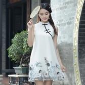 旗袍-無袖中國風仙鶴刺繡立領女連身裙73oi7【時尚巴黎】