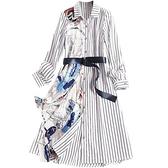短袖洋裝-緞面拼接條紋單排扣女連身裙2款73yd8[時尚巴黎]