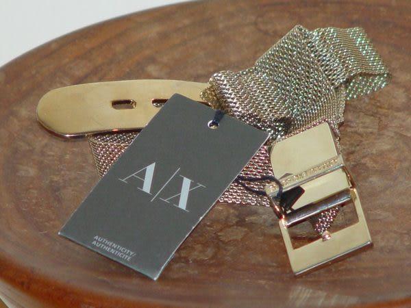 【Armani Exchange】A|X金屬扣環鐵網皮帶-金