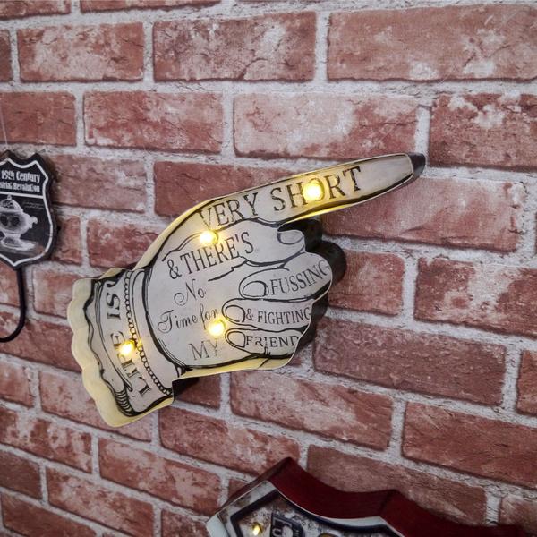 美式復古 led 招牌 壁燈 電池 USB 插頭 指標 方向 燈箱 指示牌 立體 氣氛 工業風 壁飾-米鹿家居