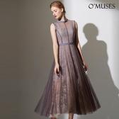 OMUSES 全尺碼*重工雙層蕾絲美背兩件式洋裝長禮服*