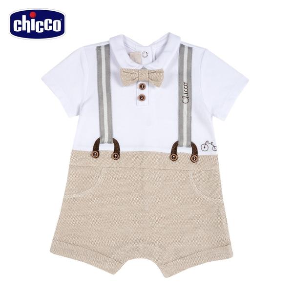 chicco-皇家小象-假兩件式吊帶短袖兔裝