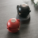 陸寶【原礦陶然蓋碗 】旅行茶具 一壺兩杯 紅/黑 一杯可收入壺內