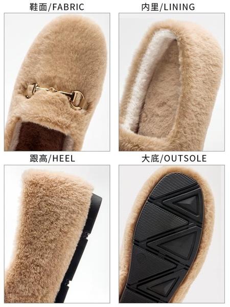 豆豆鞋 毛毛鞋女冬外穿加絨爆款孕婦厚底年冬季一腳蹬豆豆棉鞋子 芊墨左岸