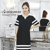 黑色洋裝--性感氣質平V領線條短袖薄針織連身裙(黑XL-4L)-D469眼圈熊中大尺碼