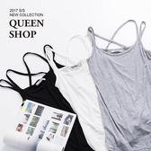 Queen Shop【01041469】後交叉造型雙肩帶棉質背心 三色售*預購*