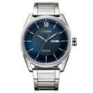 【台南 時代鐘錶 CITIZEN】星辰 雅痞紳士菱格紋 光動能日期顯示 鋼錶帶男錶 AW0081-89L 藍 42mm