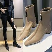 粗跟馬丁靴女2019新款冬季尖頭英倫風短靴增高短筒靴子 XN7310【極致男人】