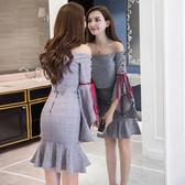限時38折 韓版時尚淑女喇叭袖格子名媛包臀魚尾裙套裝長袖裙裝
