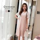 蕾絲洋裝--氣質圓領棉質細肩帶蕾絲魚尾裙...