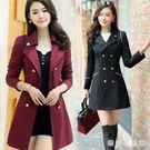 風衣外套女2018秋冬裝新款韓版中長款修身雙排扣女式外衣 QG10072『樂愛居家館』