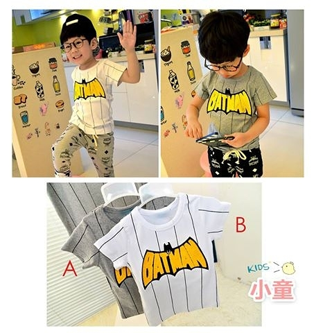 現貨 棉質 貼布繡花蝙蝠俠親子短T,小孩款【61435】