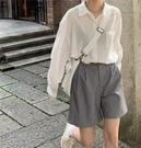 高腰顯瘦寬鬆五分褲休閑a字闊腿西裝短褲女士夏季潮