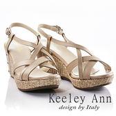 ★2018春夏★Keeley Ann夏日俏皮~交叉環繞編織金屬飾扣全真皮楔形涼鞋(米色)