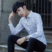 秋季男士長袖襯衫格子白色藍色襯衣男修身商務上班工裝男 糖果時尚