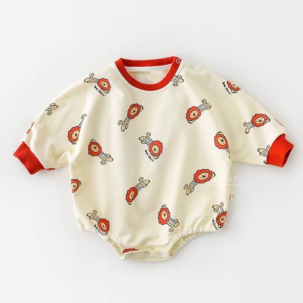 動物塗鴉長袖三角包屁衣 紅色獅子 長袖包屁衣 連身衣 嬰兒裝 包屁衣