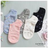 Catworld 粉嫩圓點棉質短襪【18900337】‧F